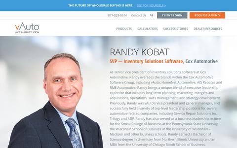 Screenshot of Team Page vauto.com - Randy Kobat, SVP — Inventory Solutions Software | vAuto - captured Oct. 20, 2016