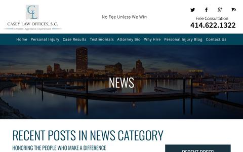 Screenshot of Press Page casey-injurylaw.com - News Blog - Casey Law Offices, S.C. - captured July 17, 2017