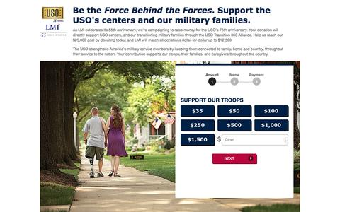 Screenshot of Landing Page uso.org - Donate | USO.org - captured Dec. 23, 2016