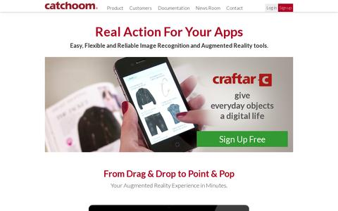 Screenshot of Home Page catchoom.com - Catchoom | Image Recognition and Augmented Reality - captured July 17, 2014