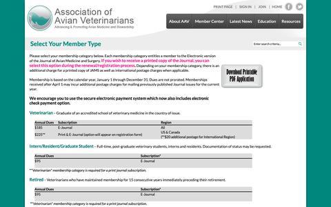 Screenshot of Signup Page aav.org - Association of Avian Veterinarians - captured Oct. 21, 2018