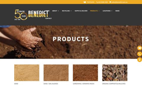 Screenshot of Products Page benedict.com.au - Construction, Landscaping & Recycled Materials - Benedict Industries - captured Oct. 5, 2018