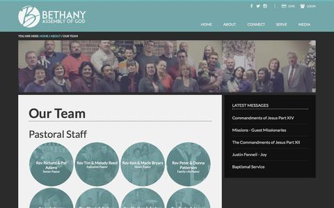 Screenshot of Team Page bethany-ag.org - Our Team - captured Nov. 3, 2014