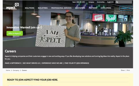 Screenshot of Jobs Page aspect.com - Careers at Aspect   Aspect - captured Aug. 3, 2017