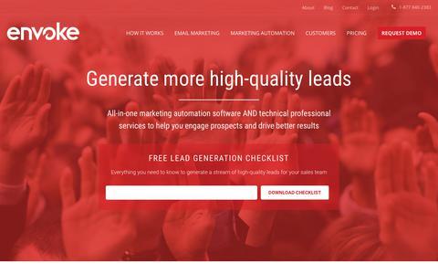 Screenshot of Home Page envoke.com - Lead Generation Software and Services for High-Quality Leads | Envoke - captured Jan. 14, 2018