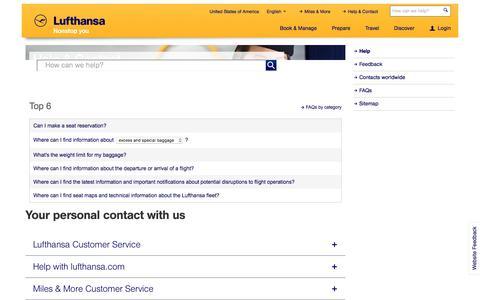 Screenshot of Contact Page lufthansa.com - Help - Lufthansa ® United States of America - captured Dec. 14, 2016