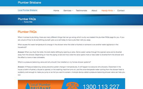 Screenshot of FAQ Page localplumberbrisbane.com.au - Plumber FAQs | Excellent answers to help you Local Plumber Brisbane - captured May 20, 2017
