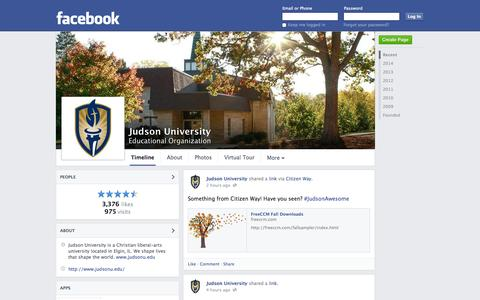Screenshot of Facebook Page facebook.com - Judson University - Elgin, IL - Educational Organization | Facebook - captured Oct. 23, 2014