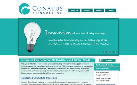 Screenshot of Home Page conatusconsulting.com - Conatus Consulting - Biotechnology, Pharmaceutical, Medical Device and Life Sciences Consulting - captured Oct. 2, 2014