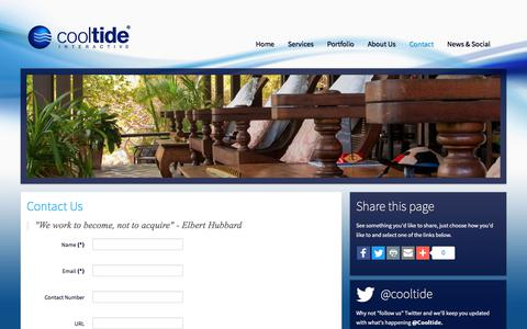 Screenshot of Contact Page cooltide.com - Cooltide Interactive Ltd - Contact Us - captured Aug. 31, 2017