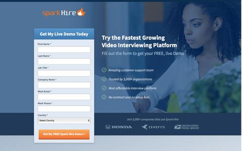 Screenshot of Landing Page sparkhire.com - Spark Hire | Video Interviewing Platform - captured March 25, 2016