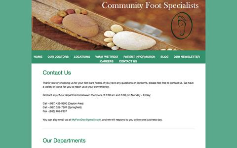 Screenshot of Contact Page daytonfeet.com - Contact Us — Community Foot Specialists - captured Oct. 8, 2014