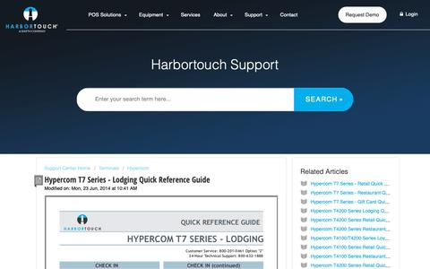 Screenshot of Support Page harbortouch.com - Hypercom T7 Series - Lodging  Quick Reference Guide : Harbortouch Support Center - captured Oct. 9, 2018