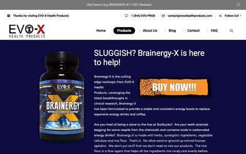Screenshot of Products Page evoxhealthproducts.com - Products - EVO-X Health Products - captured July 10, 2016