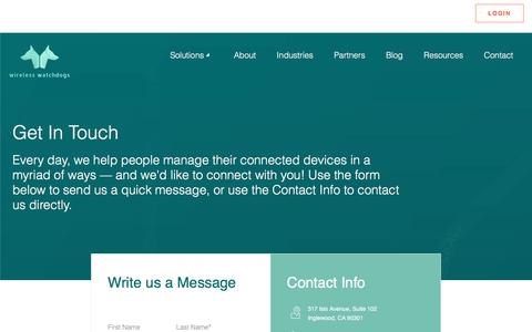Screenshot of Contact Page wirelesswatchdogs.com - Contact Us - captured June 26, 2018