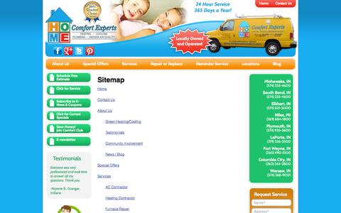 Screenshot of Site Map Page homecomfortexpertsinc.com - Sitemap | - captured Oct. 3, 2014
