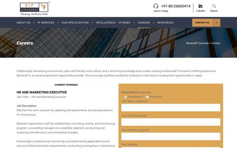 Screenshot of Jobs Page bananaip.com - Careers - Intellectual Property Jobs in India - BananaIP Counsels - captured Feb. 17, 2018