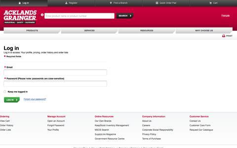 Screenshot of Login Page acklandsgrainger.com - Login to OMS - captured April 15, 2016