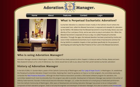 Screenshot of About Page adorationmanager.com - Adoration Manager - captured Oct. 4, 2014
