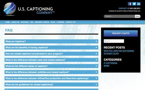 Screenshot of FAQ Page uscaptioning.com - How To Start - U.S. Captioning Company - captured Sept. 26, 2017
