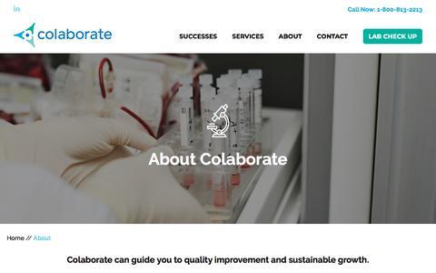 Screenshot of About Page colaborate.com captured July 19, 2018