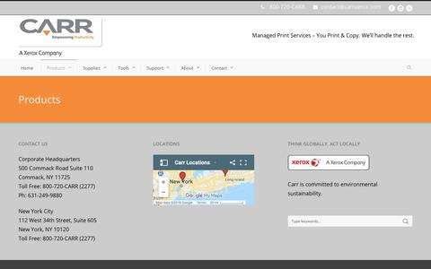 Screenshot of Products Page carrxerox.com - Carr  Managed Print Services in New York, Manhattan, Melville, NY - captured Sept. 27, 2018