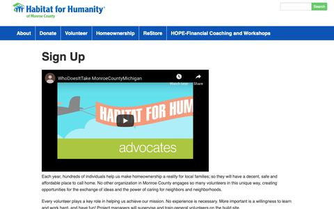 Screenshot of Signup Page habitatmonroemi.org - Sign Up | Habitat for Humanity - Monroe, MI - captured Nov. 9, 2018