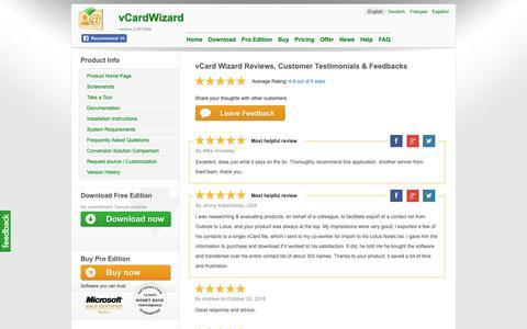 Screenshot of Testimonials Page vcardwizard.com - vCard Wizard Reviews, Customer Testimonials & Feedbacks - captured Oct. 26, 2018