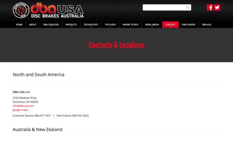 Screenshot of Contact Page Locations Page dbausa.com - DBAUSA | Contacts & Locations - captured May 21, 2016