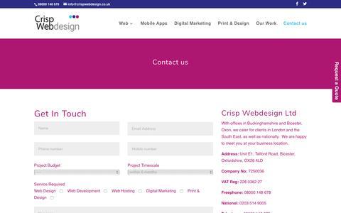 Screenshot of Contact Page crispwebdesign.co.uk - Contact us   Crisp Webdesign Ltd - captured Jan. 19, 2017