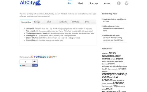 Screenshot of Menu Page altcity.me - AltCity   –  Menu for AltCity Cafe - captured Oct. 4, 2014