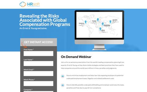 Screenshot of Landing Page hrsoft.com - Revealing the Risks Associated with Global Compensation Programs - captured Feb. 24, 2017