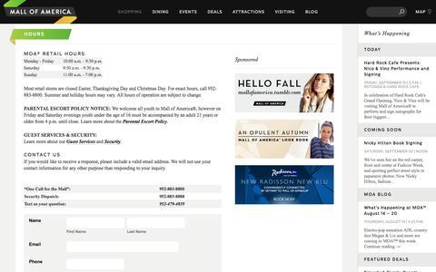 Screenshot of Hours Page mallofamerica.com - Hours - Mall of America - captured Sept. 22, 2014