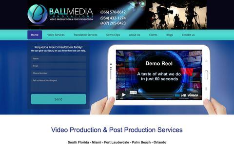 Screenshot of Home Page ballmediainnovations.com - Miami Video Production & Post Production | Florida - captured Feb. 7, 2016
