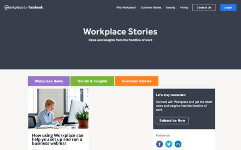 Screenshot of Blog workplace.com - Workplace Stories: The Official Facebook Workplace Blog | Workplace by Facebook - captured Dec. 7, 2018
