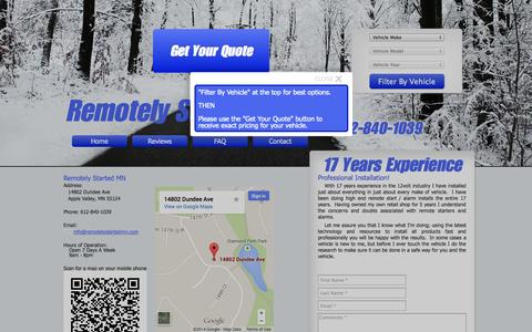 Screenshot of Contact Page remotelystartedmn.com - Remotely Started MN - Remote Car Starter Installation in Apple Valley - captured Oct. 7, 2014