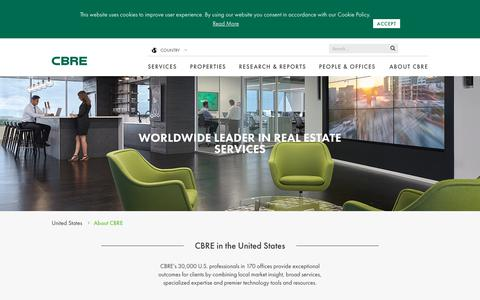 Screenshot of About Page cbre.us - About CBRE | Corporate Information & Values | CBRE - captured Sept. 29, 2017