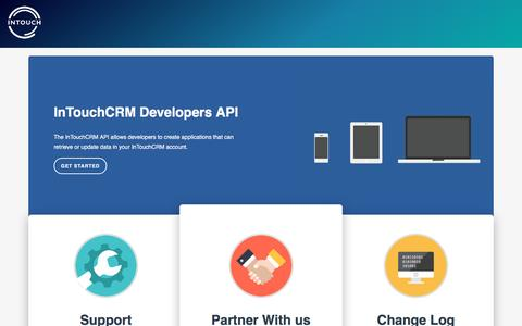 Screenshot of Developers Page intouchcrm.com - Welcome   intouch API - captured Aug. 5, 2016