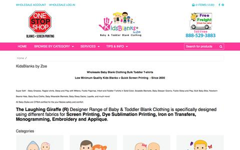 Screenshot of Products Page kidsblanks.com - Wholesale baby clothing blanks toddler t-shirt blanks for Screen Printing Embroidery and Sublimation - captured Sept. 20, 2018