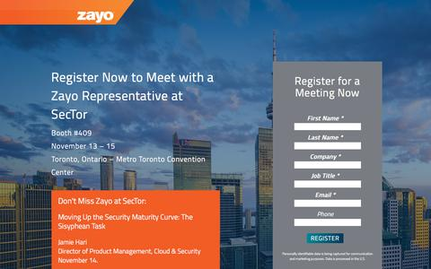Screenshot of Landing Page zayo.com - Meet Zayo at SecTor 2017 - captured Aug. 2, 2018