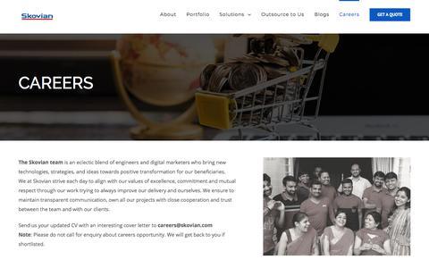 Screenshot of Jobs Page skovian.com - Careers - Skovian Ventures - captured Aug. 15, 2019