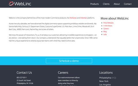 Screenshot of About Page weblinc.com - WebLinc Commerce Platform - captured Oct. 27, 2017