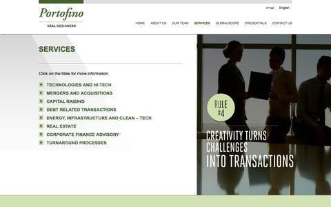 Screenshot of Services Page portofinoinv.co.il - Services | Portofino - captured Oct. 8, 2014