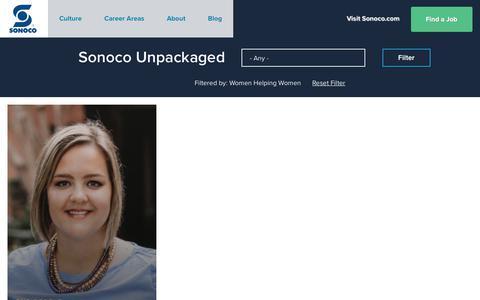 Screenshot of Jobs Page sonoco.com - Sonoco Unpackaged | Sonoco Careers - captured Nov. 5, 2019