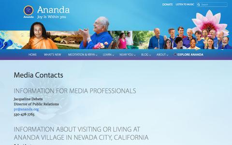 Screenshot of Press Page ananda.org - Media Contacts — Ananda - captured Sept. 22, 2018