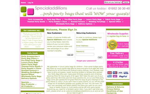 Screenshot of Login Page specialadditions.co.uk - Login : Luxury Party Bags   Pre-filled Kids Partybags, Shropshire, West Midlands - captured Sept. 30, 2014