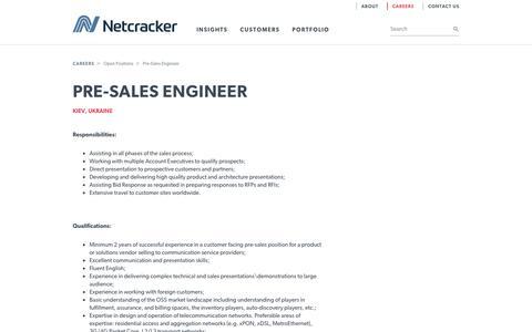 Screenshot of Jobs Page netcracker.com - Netcracker - Pre-Sales Engineer - captured July 22, 2017