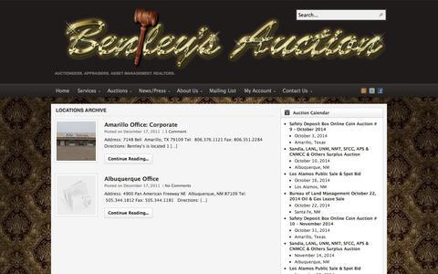 Screenshot of Locations Page auctionsouthwest.com - Locations | Bentley & Associates, LLC - The Southwest's Premier Auction Company - captured Oct. 5, 2014