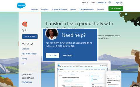 Screenshot of Pricing Page salesforce.com - Quip, the Easy-to-Use Integrated Content Productivity Platform - Salesforce.com - captured Oct. 21, 2019