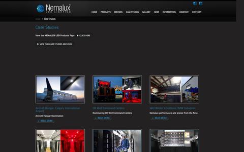 Screenshot of Case Studies Page nemalux.com - Case Studies - captured Oct. 7, 2014